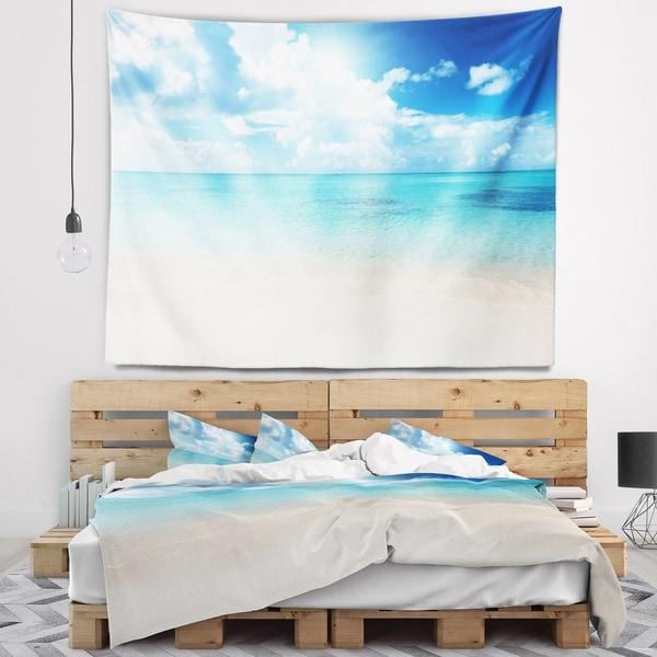 Designart 'Sand of Beach in Blue Caribbean Sea' Modern Seascape Wall Tapestry