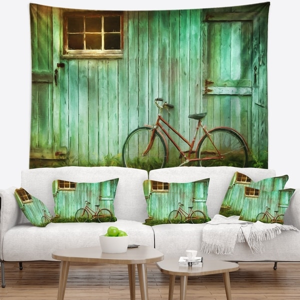 Designart 'Old Bicycle against Barn' Landscape Photo Wall Tapestry