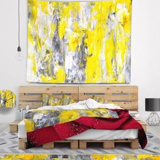 Designart 'Grey and Yellow Abstract Pattern' Abstract Wall Tapestry (2 options available)
