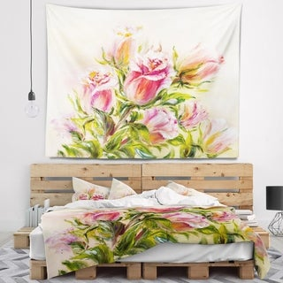 Designart 'Rose Oil Painting' Floral Wall Tapestry