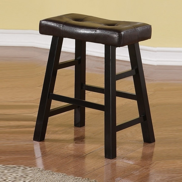 Shop Rubber Wood Black Counter Stool Set Of 2 On Sale
