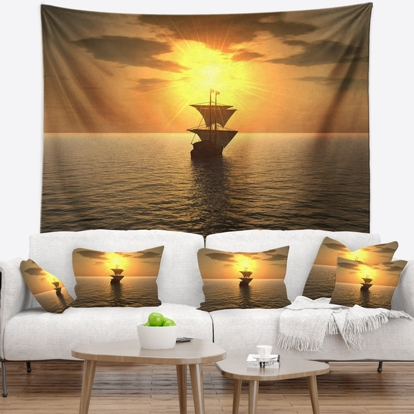 Designart 'Ship and Sunset' Seascape Photography Wall Tapestry