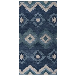 """Rizzy Home Leone Hand-Tufted 2'6"""" x 8' Runner Rug, Blue"""