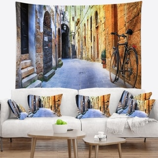 Designart 'Pictorial Street of Old Italy' Cityscape Wall Tapestry