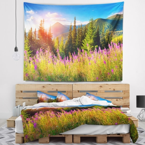 Designart 'Mountains with Pink Flowers' Floral Wall Tapestry