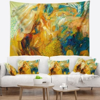 Designart 'Abstract Yellow Collage' Abstract Wall Tapestry