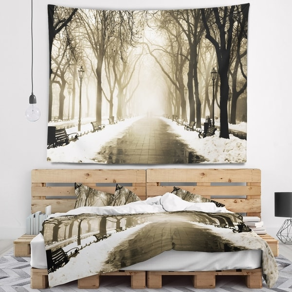 Designart 'Fog in Alley Vintage Style' Landscape Photography Wall Tapestry
