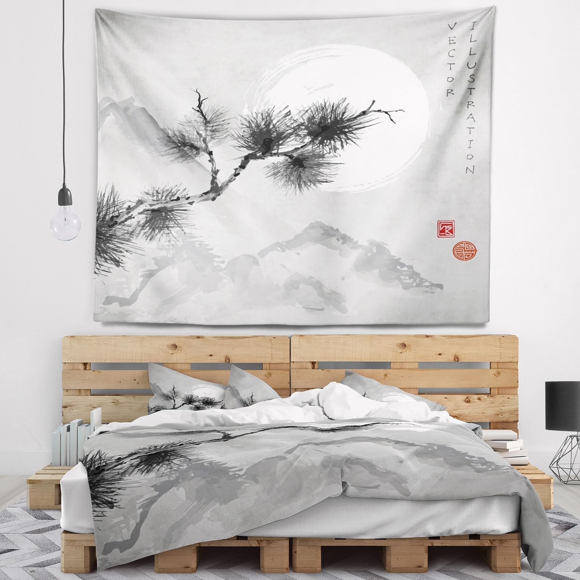 Designart \'Pine Tree Branch\' Japanese Wall Tapestry | eBay