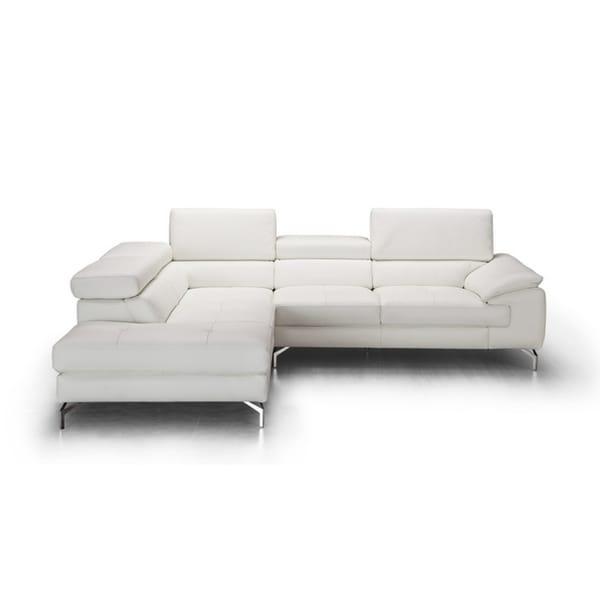 Nila LHF White Italian Leather Chaise