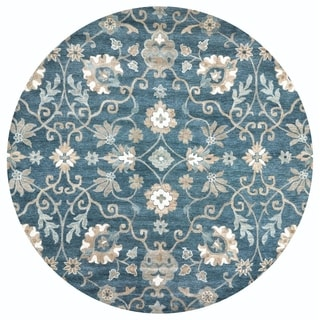 Rizzy Home Leone Blue Traditional Motifs  10' Round Rug - 10' Round