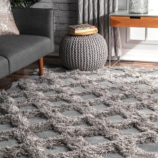 nuLOOM Silver Soft and Plush Shag Diamond Raised Trellis Area Rug - 5' x 8'