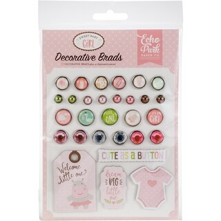 Sweet Baby Girl Decorative Brads 25/Pkg