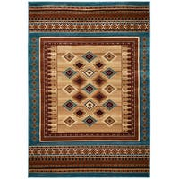 """Rizzy Home Bellevue Power Loomed Double Pointed Designs Rug, Tan/ Ivory/ Brown - 7'10""""Round"""