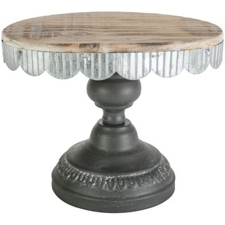 "Cake Stand Oval Wood W/Galvinized Edge 7.6""X5.7""X5.4""H"
