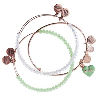 Alex and Ani Love is In The Air Set of Three Bangles - Green