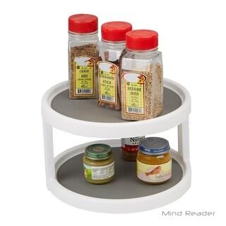 Mind Reader 2-Tier Kitchen Storage Spice Rack Counter top Organizer, Spins 360 Degrees, White/Gray