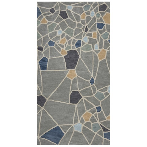 Lourdes Collection Grey Abstract Rug