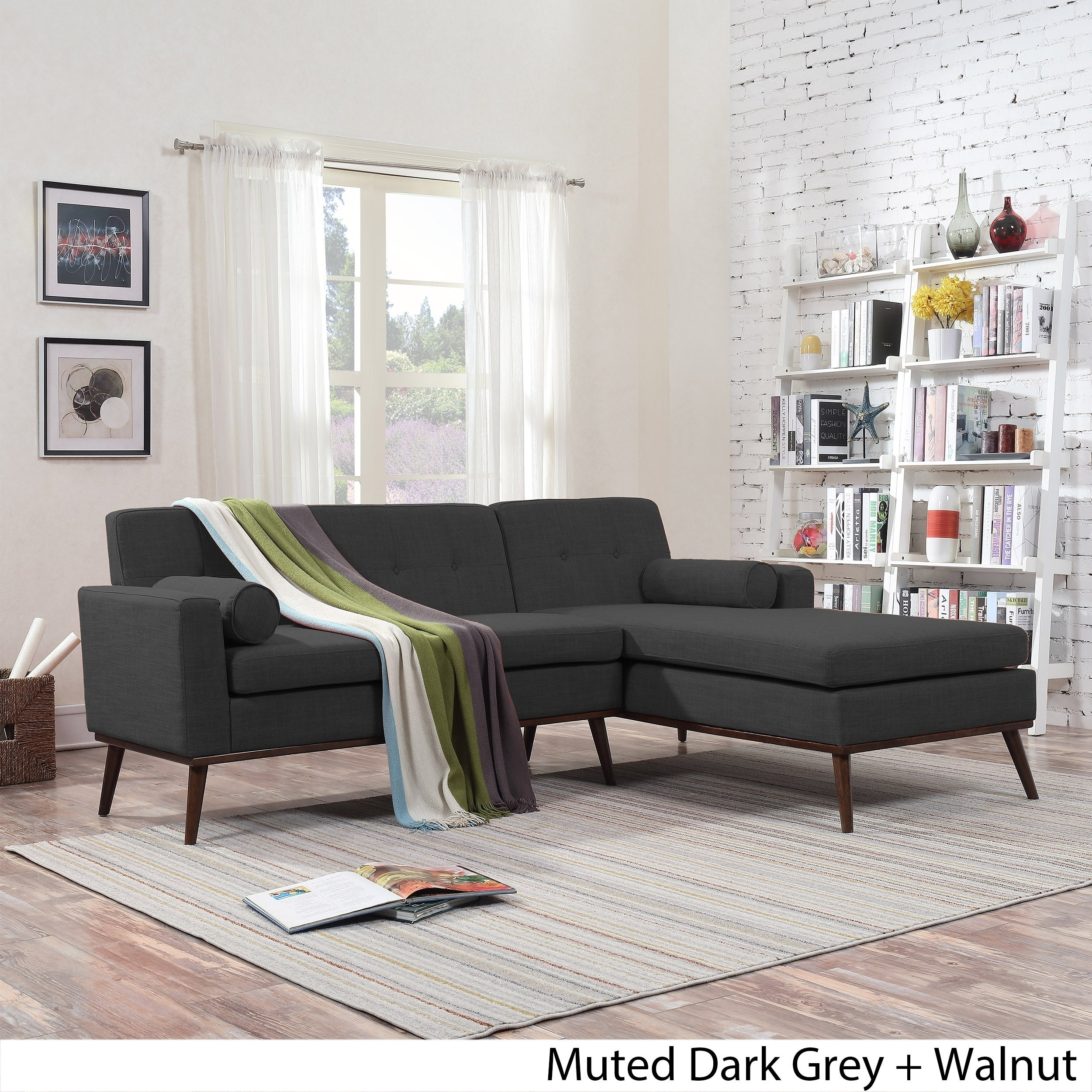 Details about Stormi Mid Century Modern 2-Piece Mut Sectional Sofa and