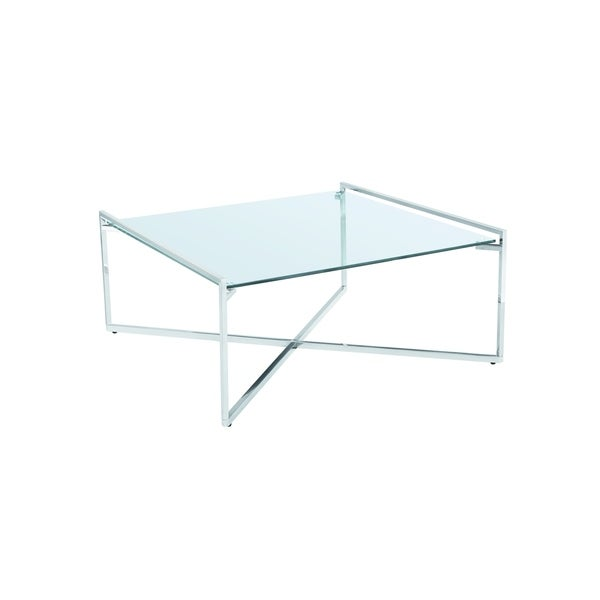 Shop Banner Modern Square Glass/ Metal Coffee Table