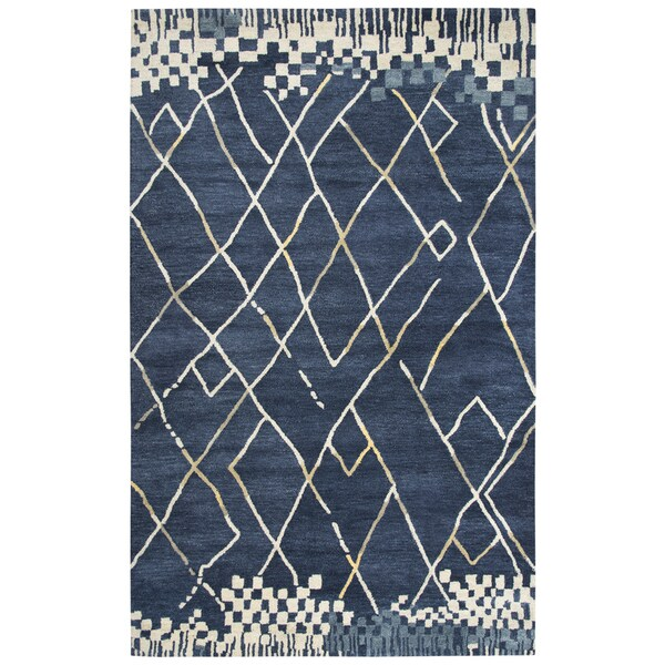 Rizzy Home Marianna Fields Navy/White Wool Handmade Abstract Area Rug - 8' x 10'