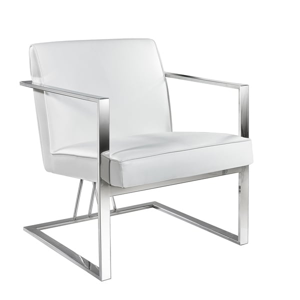 Shop Elias White Faux Leather Metal Accent Chair Free