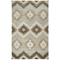 Rizzy Home Leone Grey/Natural/Brown Wool Handmade Contemporary Rectangular Area Rug - 10' x 14'