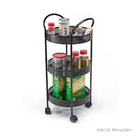 Mind Reader 3 Tier Metal All Purpose Utility Cart with Wheels, Black
