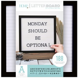 "DieCuts Letterboard Frame 12x12 w/1"" Lettr Blk/Wht"