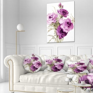 Designart 'Bunch of Purple Flowers' Floral Throw Pillow