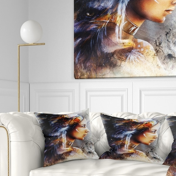 Designart 'Woman with White Horse Eagles' Indian Throw Pillow