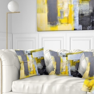Designart 'Grey and Yellow Blur Abstract' Abstract Throw Pillow