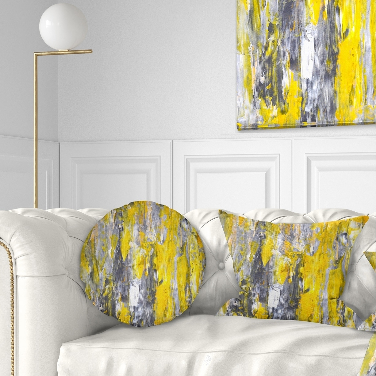 Designart Grey And Yellow Abstract Pattern Abstract Throw Pillow On Sale Overstock 20889986