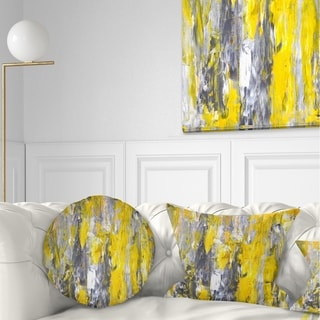 Designart 'Grey and Yellow Abstract Pattern' Abstract Throw Pillow