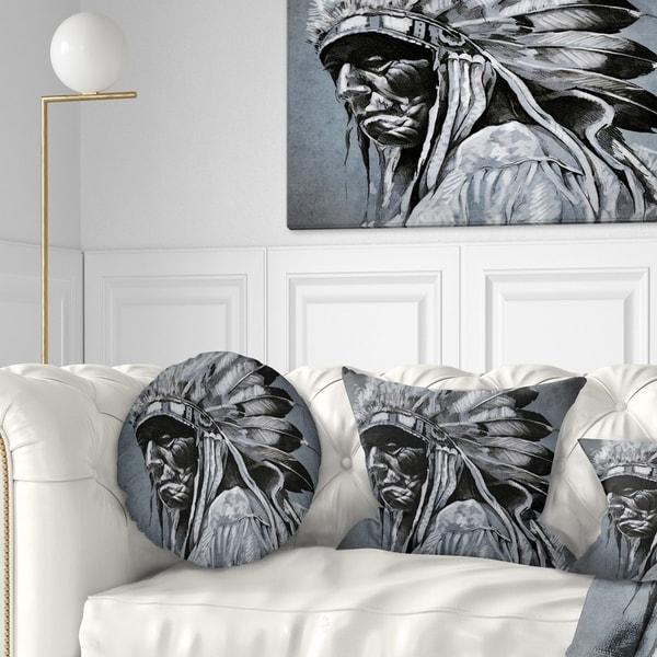 Designart 'American Indian Tattoo Art' Portrait Throw Pillow