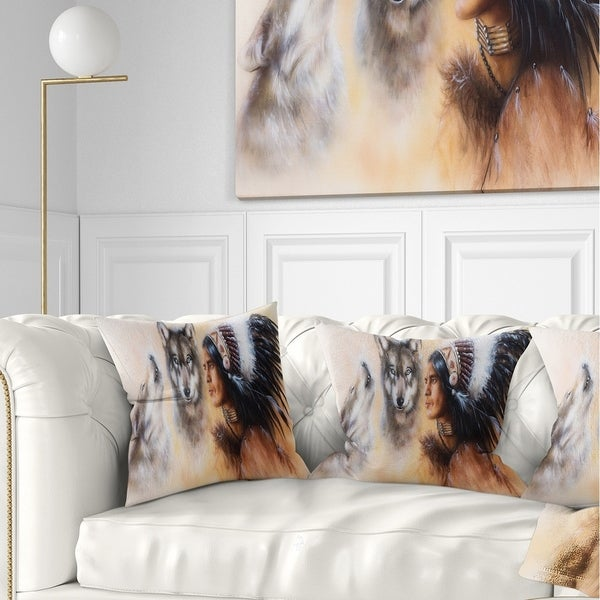 Designart 'Indian Warrior with Two Wolves' Animal Throw Pillow
