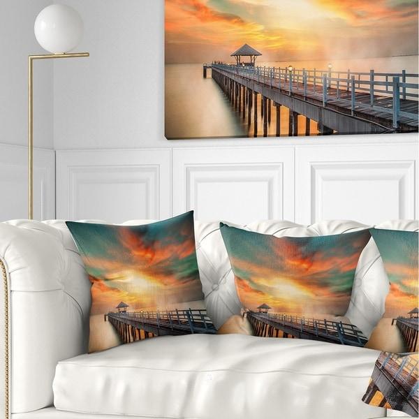 Designart 'Wooden Pier' Landscape Photo Throw Pillow