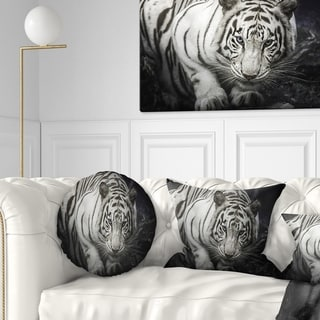 Designart 'White Tiger' Animal Throw Pillow