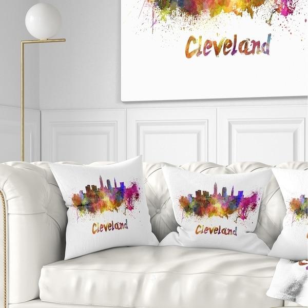 Designart 'Cleveland Skyline' Cityscape Throw Pillow