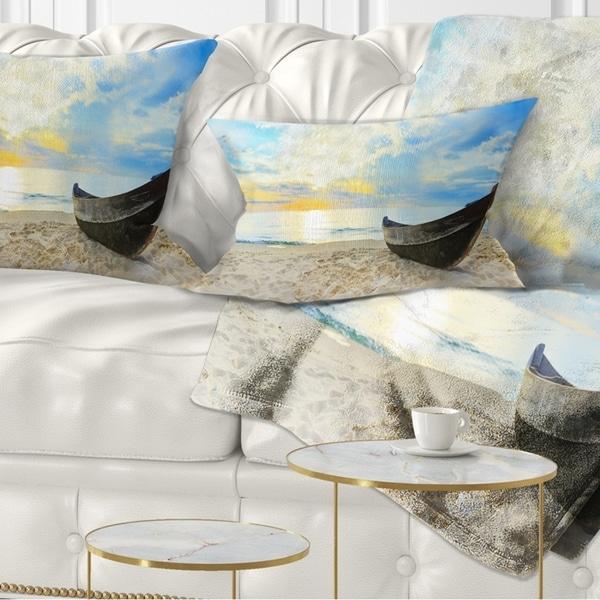 Designart 'Calm Beach Panorama' Photography Throw Pillow