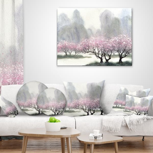 Designart Flowering Trees At Spring Landscape Printed Throw Pillow On Sale Overstock 20890020