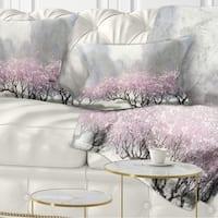 Designart 'Flowering Trees at Spring' Landscape Printed Throw Pillow
