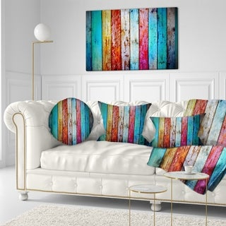 Designart 'Vintage Wooden Pattern' Contemporary Throw Pillow (More options available)