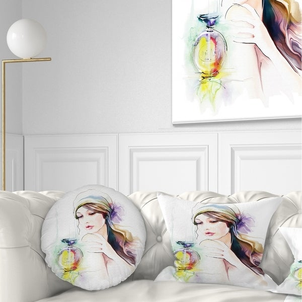 Designart 'Woman with Perfume Bottle' Portrait Contemporary Throw Pillow
