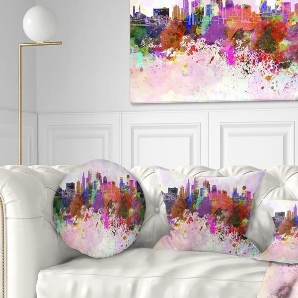 Designart 'Kansas City Skyline' Cityscape Throw Pillow