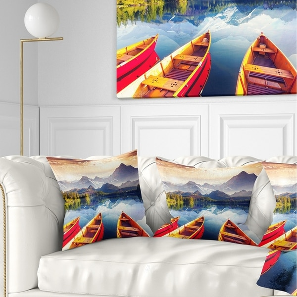 Designart 'Boats Heading to Lake' Landscape Printed Throw Pillow