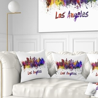 Designart 'Los Angeles Skyline' Cityscape Throw Pillow (More options available)