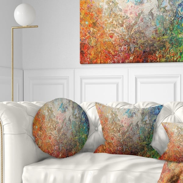Designart 'Board Stained Abstract Art' Abstract Throw Pillow