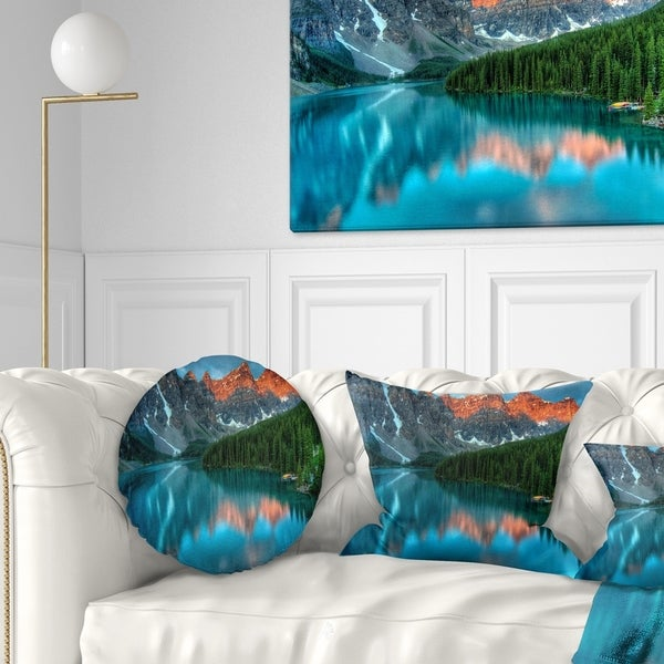 Designart 'Moraine Lake Sunrise' Landscape Photography Throw Pillow