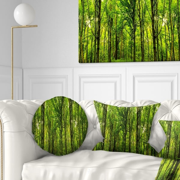 Designart 'Green Forest' Landscape Photo Throw Pillow