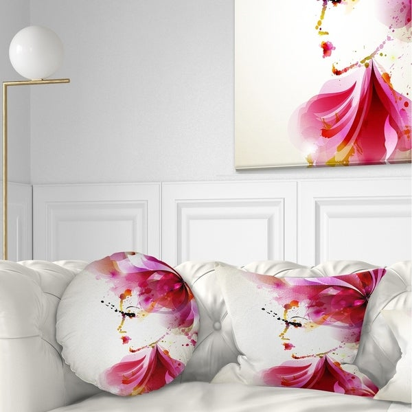Designart 'Fashion Woman with Abstract Hair' Abstract Throw Pillow